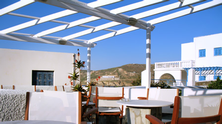 Lounge of Naias Hotel in Serifos